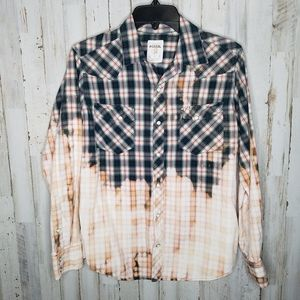 Fossil Western Shirt Pearl Snap Dip Dyed Small